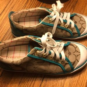 Coach Sneakers, Teal and Brown Color, Size 8